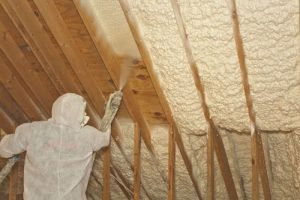 Application of spray foam to a mold free attic space